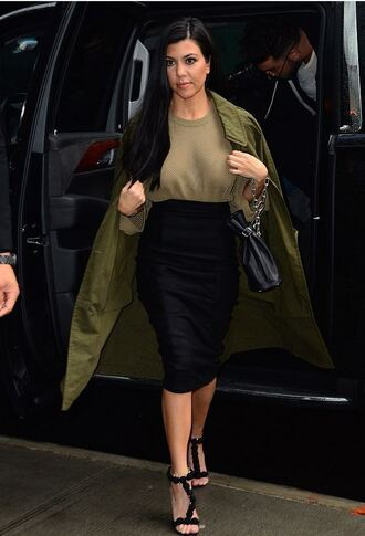 shoes sandals kourtney kardashian top coat trench coat skirt pencil skirt midi skirt kardashians spring outfits
