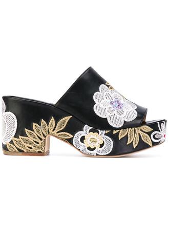 women sandals platform sandals floral leather cotton black shoes