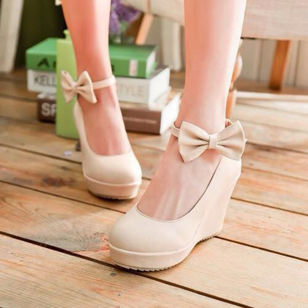 Shoes: wedges, cute wedges, white wedges, bow wedges, white shoes ...