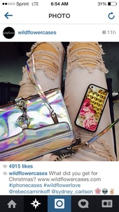 bag,rebecca minkoff,holographic,mini mac