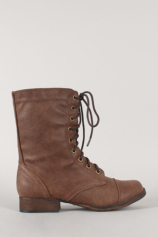Breckelles Georgia-32 Round Toe Military Lace Up Bootie