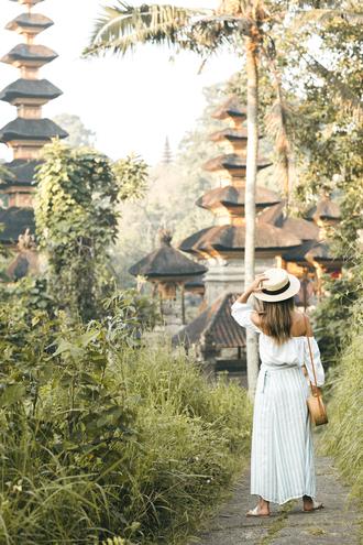 skirt striped skirt maxi skirt off the shoulder blouse summer hat blogger blogger style crossbody bag slide shoes