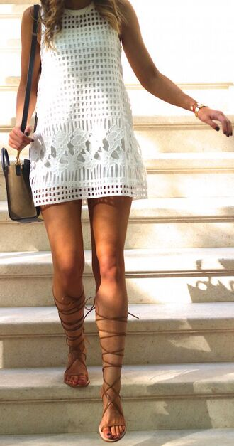 dress white lace crochet shift dress