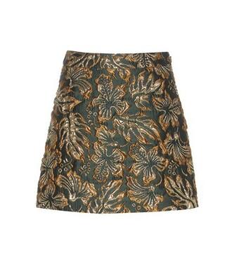 skirt metallic jacquard green