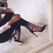 shoes,lace up heels,vue boutique,heels,blac,straps,heels with straps,lace up,black,classy,girly,party,black heels,strappy heels,pointy toed,high heels,pointed toe,black lace high heels,stripped,pumps