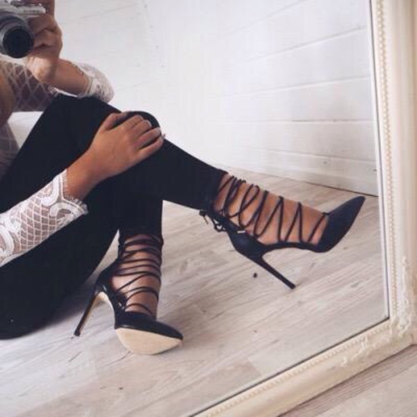 shoes lace up heels vue boutique heels blac straps heels with straps lace up black classy girly party black heels strappy heels pointy toed high heels pointed toe black lace high heels stripped pumps