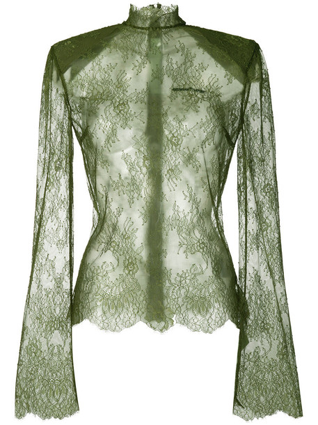 top lace top high women high neck lace silk green