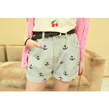 2014 summer Anchor embroidery paragraph loose bf thin high waist denim shorts strap-inJeans from Apparel & Accessories on Aliexpress.com