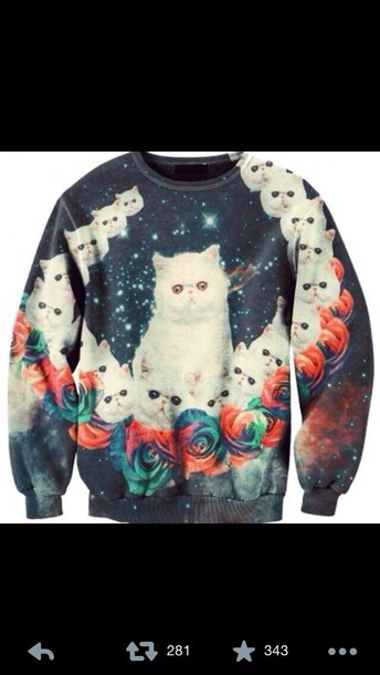 sweater lsd cats cats pullover psychedelic trippy cats space space cats