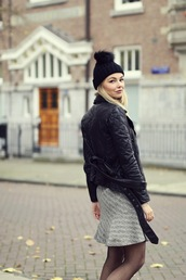 by vh,blogger,leather jacket,grey skirt,pom pom beanie,winter outfits,dress,jacket