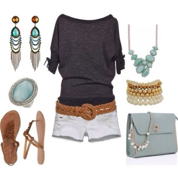 grey shirt blouse shoes earrings white shorts tan belt bracelets ring necklace light blue purse flat sandals