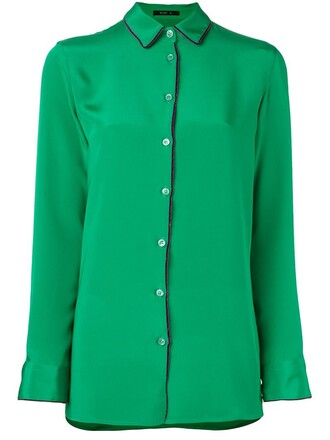 shirt button down shirt classic green top