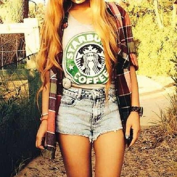 shirt starbucks coffee jacket t-shirt tank top checked shirt high waisted denim shorts blouse summer outfits summer top shorts top check plaid plaid shirt white green jeans aprico hipster chillig kariert sweater