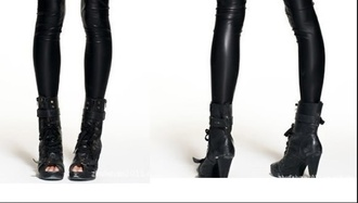 shoes punk boots high heels grunge lace up ankle boots buckles cool edgy peep toe heels peep toe peep toe boots