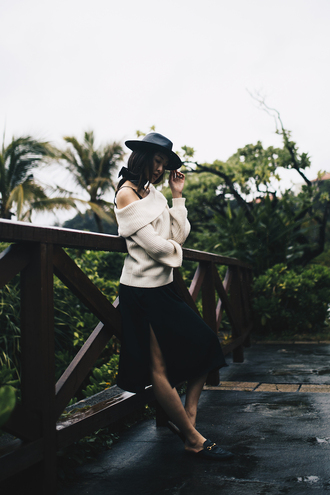 the chriselle factor blogger dress sweater hat shoes jewels felt hat beige sweater loafers slit skirt midi skirt