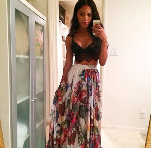 Skirt: long, long skirt, colorful, colorful, colorful skirt, long ...