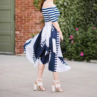 skirt top tumblr midi skirt asymmetrical asymmetrical skirt sandals sandal heels high heel sandals white sandals off the shoulder off the shoulder top crop tops bag shoes