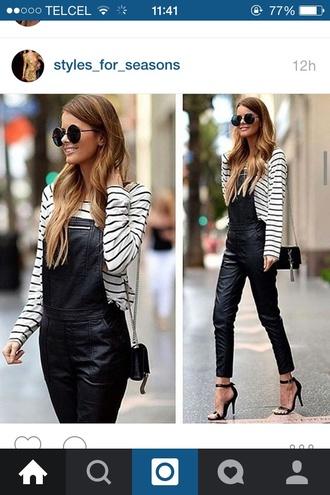 jeans jumpsuit black jeans heels black heels blouse shirt overalls black jumpsuit shoes