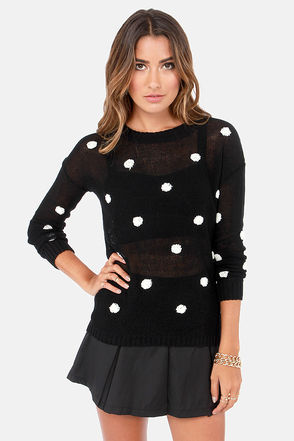 Cute Black Sweater - Polka Dot Sweater - Knit Sweater - $45.00