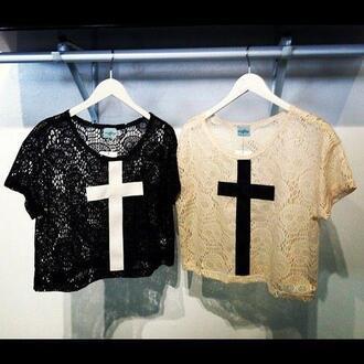 shirt cross top crop tops vintage lace floral t-shirt clothes white black