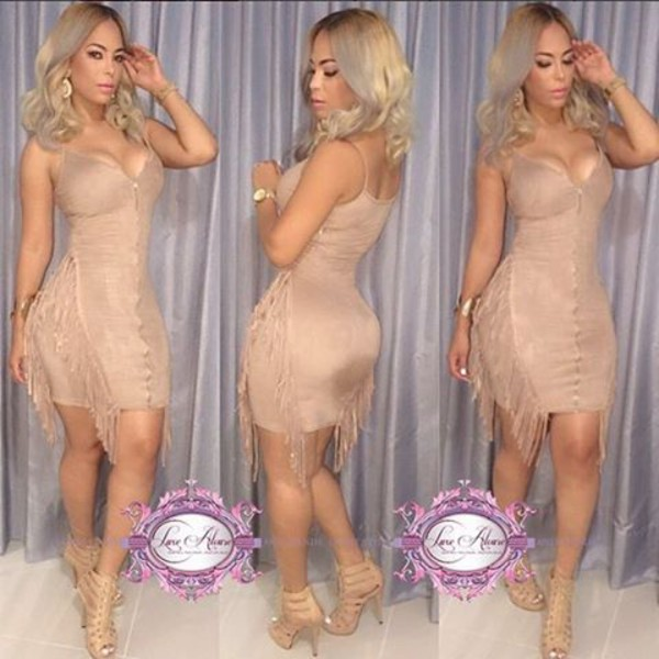 dress luxe aloure fringes suede bodycon dress strapless dress