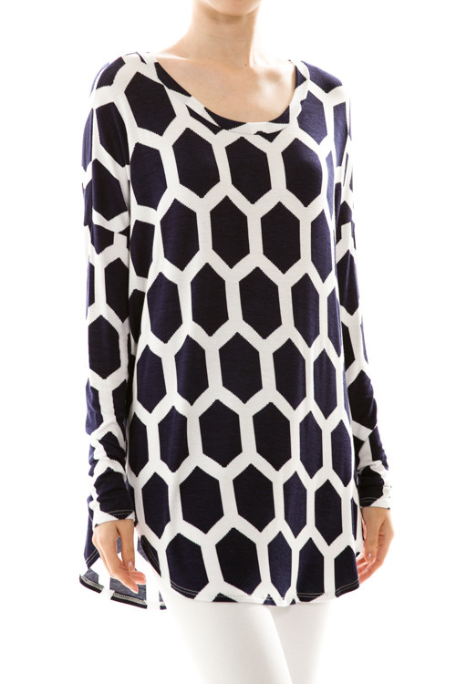 Honeycomb Print Dolman Tunic Top