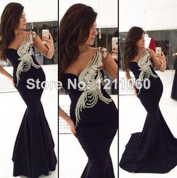 Real Sample Long Evening Dress 2014 Beaded Black Formal Evening Dress Black Mermaid Dress Chiffon Evening Dresses robe de soiree-in Evening Dresses from Apparel & Accessories on Aliexpress.com