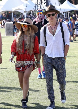 pants blue spring coachella vanessa hudgens austin butler hat shirt dress shoes hair accessory blouse