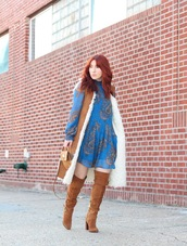 tf diaries,blogger,dress,jacket,shoes,shearling vest,shearling,blue dress,mini dress,fall dress,long sleeves,long sleeve dress,over the knee boots,brown boots,boots,fall colors