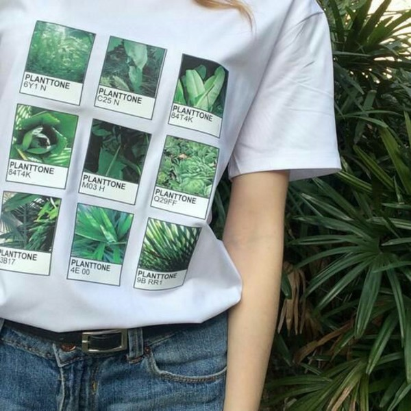 shirt green plants plants pantone crewneck alternative squares aesthetic aesthetic shirt