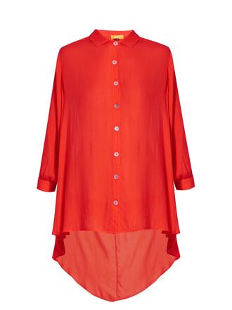 shirt collar shirt red top