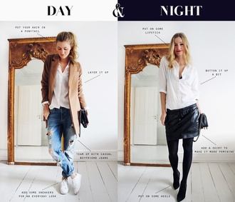 passions for fashion blogger shirt camel coat outfit white shirt ripped jeans leather skirt