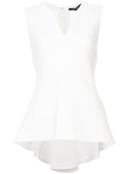 DEREK LAM top sleeveless asymmetrical women white cotton