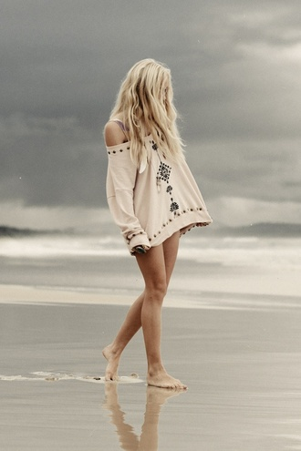 sweater loose fit sweater shirt beach boho cream tribal pattern oversized bohemian oversized white sweater