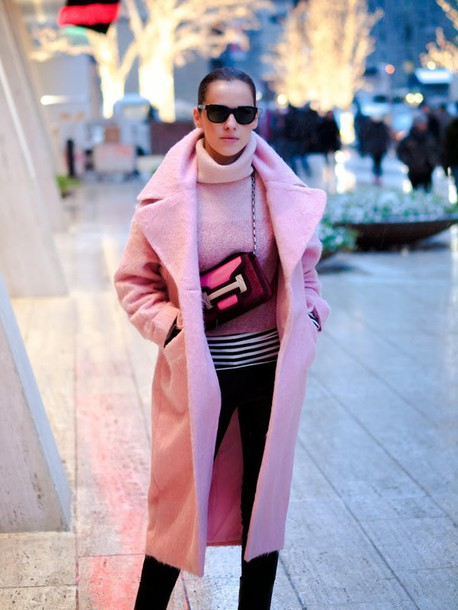 coat pink winter outfit pink coat sweater pink sweater turtleneck turtleneck sweater bag pink bag sunglasses black sunglasses pants black pants winter outfits winter look