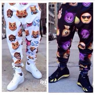 black pants dope menswear menpants white pants emoji pants