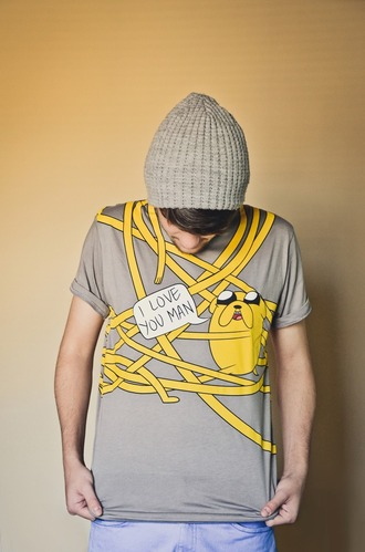 t-shirt adventure time jake the dog hug love quotes clothes multi menswear shirt mens t-shirt yellow yellow t-shirt cute grey t-shirt grey jake from adventure time adventure time shirt