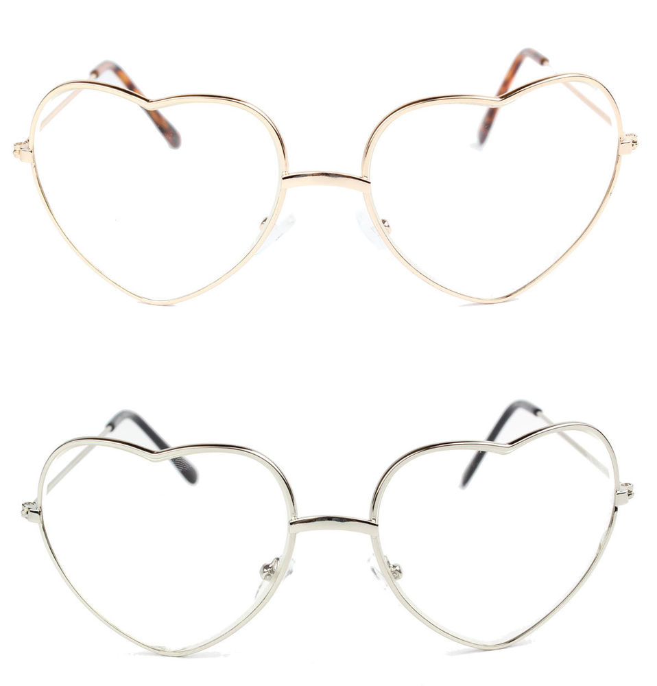 85183a3d8eff 3TEN Love Heart Shaped Clear Lens Glasses with Metal Frame Gold and Silver
