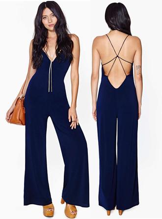 jumpsuit bqueen fashion girl sexy chic party blue elegant navy back cross deep v halter neck
