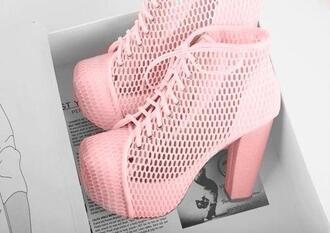 shoes pink heels mesh