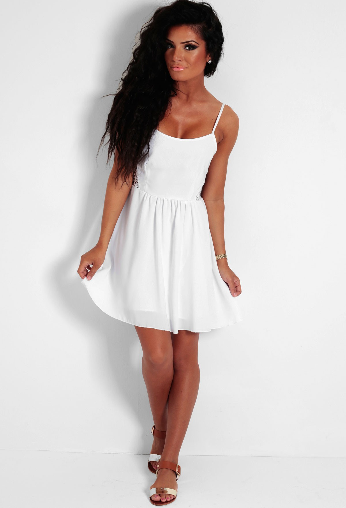 Spritzer White Lace Panel Skater Dress | Pink Boutique