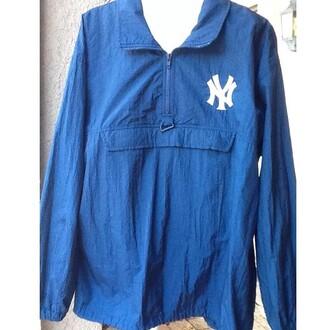 jacket windbreaker 90 style 90s style 90s jacket streetwear streetstyle yankees blue dope