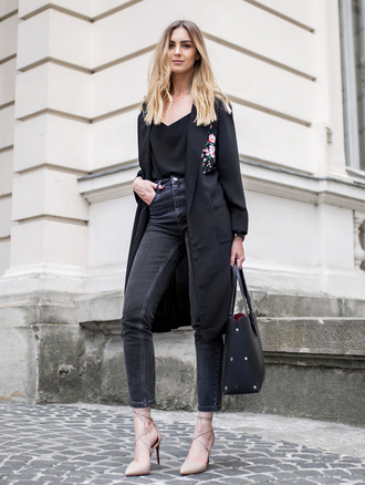 fashionagony blogger top jeans shoes bag tote bag all black everything fall outfits coat black coat black jeans high heels tumblr denim heels skinny jeans black bag