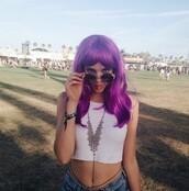 top,fashion,festival,style,hot,model,summer,white,purple,wig,hair,music,brandy melville,coachella,vest,sunglasses