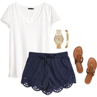 t-shirt angel shorts scalloped shorts scalloped navy preppy blue shorts holes loose casual lace shorts blue