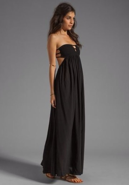 Maxi dress black strapless maxi