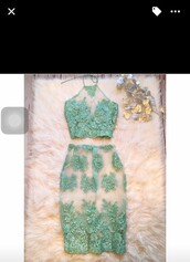 dress,lace dress,mint dress,two piece dress set