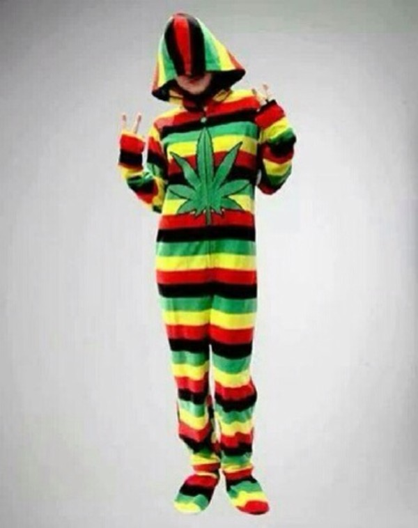 shirt green yellow pot sweater pajamas red weed
