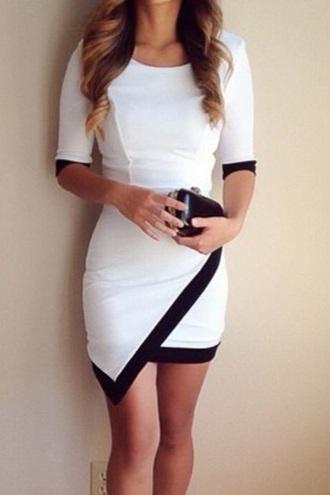 dress black trim white dress asymmetrical