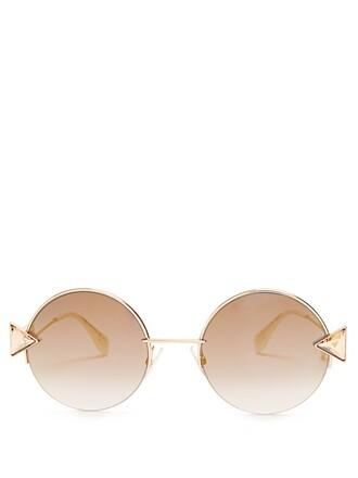 metal embellished sunglasses gold